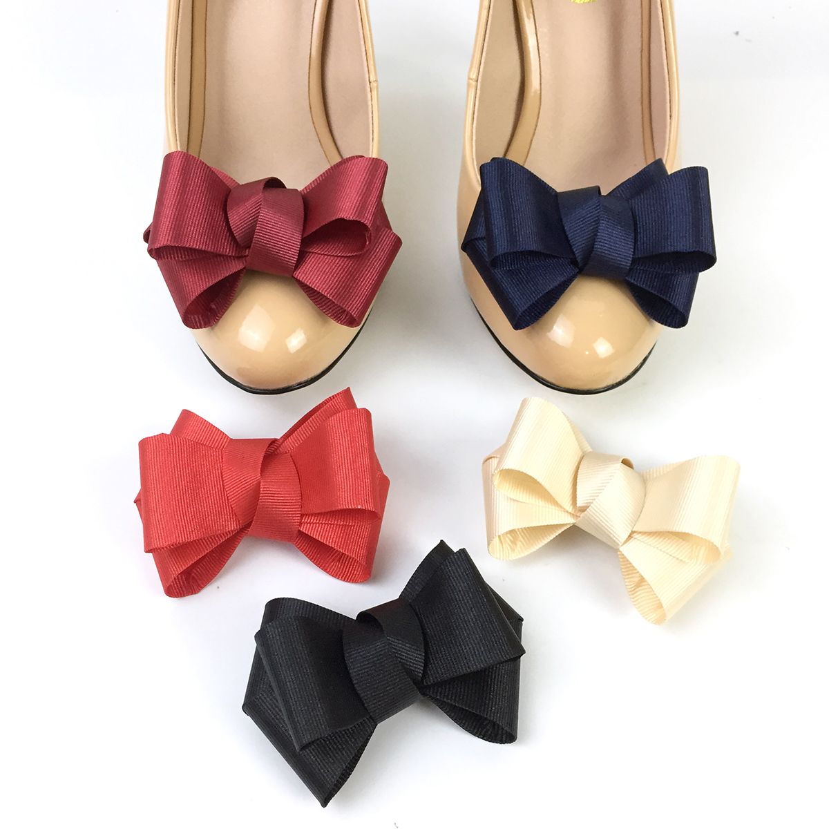 One Pair Bow Shoe Charms For Women High Heels Flats Shoes Accessoires Bowknot Shoe Decoration Shoe Charm Bow DIY Glue On