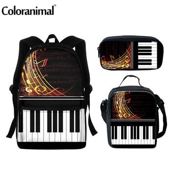 цена на Coloranimal Fashion Music Notes Piano Keyboard Design School Bags For Teenagers Backpacks Black Scool Bag Set Girls Book Satchel