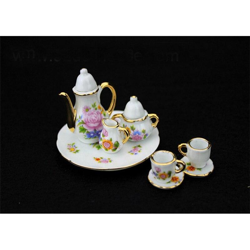 Puppenhaus Miniatur Porzellan Teekanne Tassen Geschirr 1:12 Skala Neu