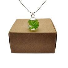 Зеленый мох Настоящее Цветок Смола Стекло мяч кулон 925 Серебряная