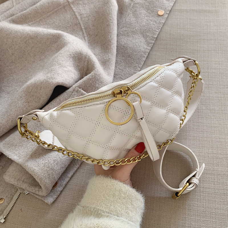 PU Leather Waist Bags For Women 2020 Small Solid Color  Shoulder Messenger Bag Lady Chest Crossbody Handbags Chain Bag