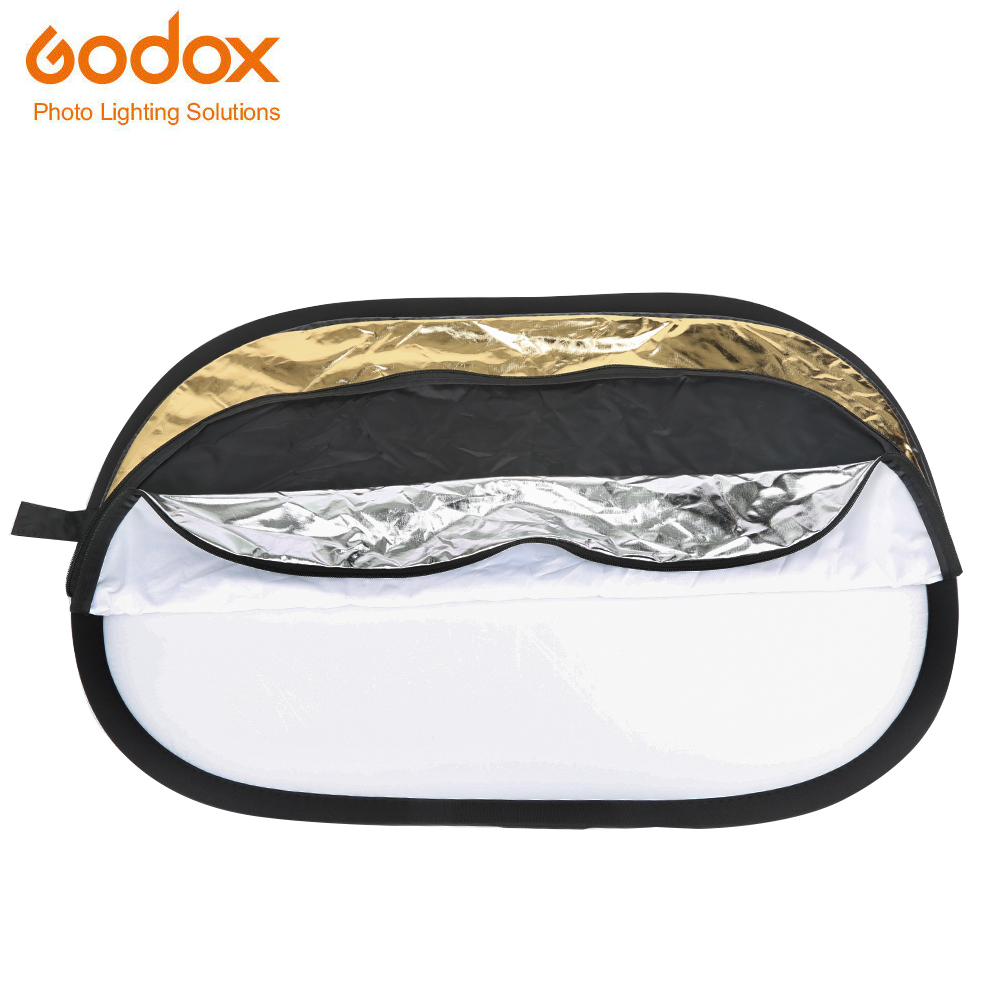 Godox 5 in 1 <font><b>90</b></font>*120cm Background Board Round Rectangle <font><b>Reflector</b></font> Collapsible Lighting Diffuser Disc Black Silver Gold White image
