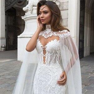 Image 3 - Jark tozr 2020 新到着レースマーメイドウェディングドレスとショールスリムエレガントな中国ブライダルガウン vestido noiva sereia