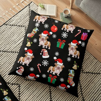 Bulldog Dog Christmas Pattern Cushion Cover Pillowcase 2020 Christmas Decorations For Home Xmas Noel Ornament Happy New Year image
