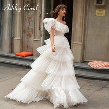 אשלי קרול אחת כתף שמלות כלה 2020 Vestido דה Noiva שכבות קפלי טול Sleeveles הכלה חוף אונליין כלה שמלות