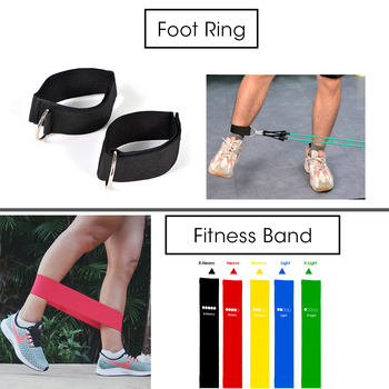 11/16Pcs Fitness Resistance Tube Band Yoga Gym Stretch Pull Rope Exercise Training Expander Door Anchor With Handle Ankle Strap 4
