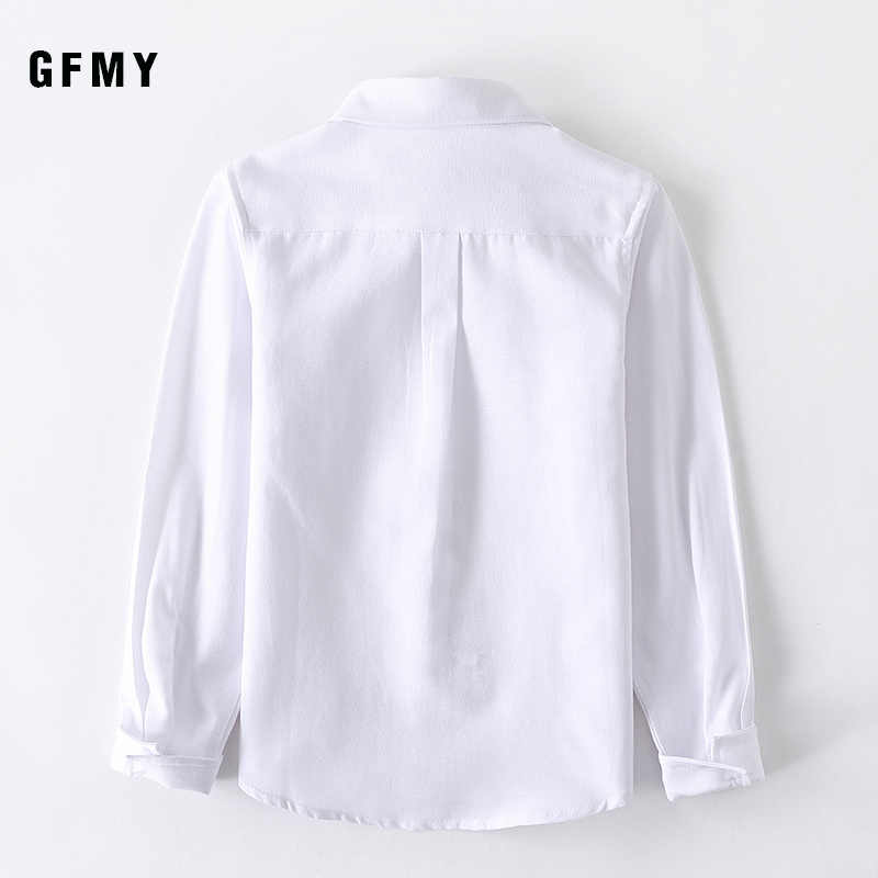 GFMY 2020 חדש אביב אוקספורד טקסטיל כותנה מוצק צבע ורוד שחור בני לבן חולצה 3T-14T בריטי סגנון ילדים חולצות