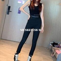 Donna pantaloni stretti lettera stampato disegno della chiusura lampo fascia elastica casuali pantaloni neri lunghi delle donne streetwear abbigliamento di alta qualità
