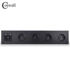 Image 2 - COSWALL Brand 5 Gang Wall EU Socket Grounded + Dual USB Charging Port With Hidden Soft LED Indicator Black White Gold PC Panel