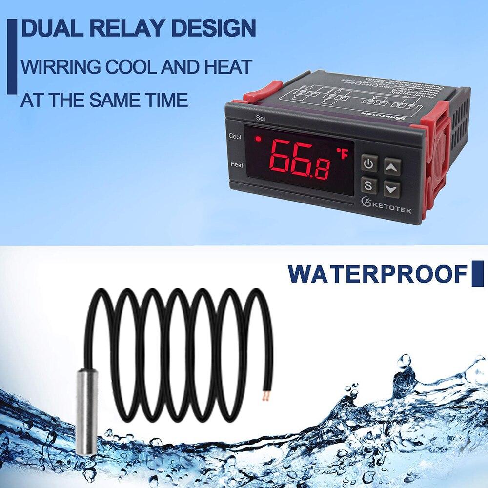 Régulateur de température numérique Thermostat thermorégulateur incubateur relais LED 10A chauffage STC-1000 de refroidissement STC 1000 12V 24V 220V