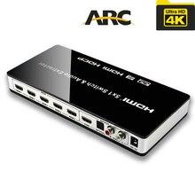 Véritable commutateur HDMI 4K 5X1 avec sélecteur audio avec télécommande HDMI 5 en 1 sortie 1.4V pour PS4,HDTV,DVD,STB etc.