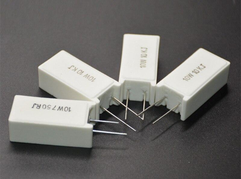 5Pcs SQM RX27-5 Vertical Cement Resistance Resistors 10W 0.1/0.5/1/1.5/2/3.3/4.7/5.1/5.6/6.8/7.5/8.2R Ohm Ceramic