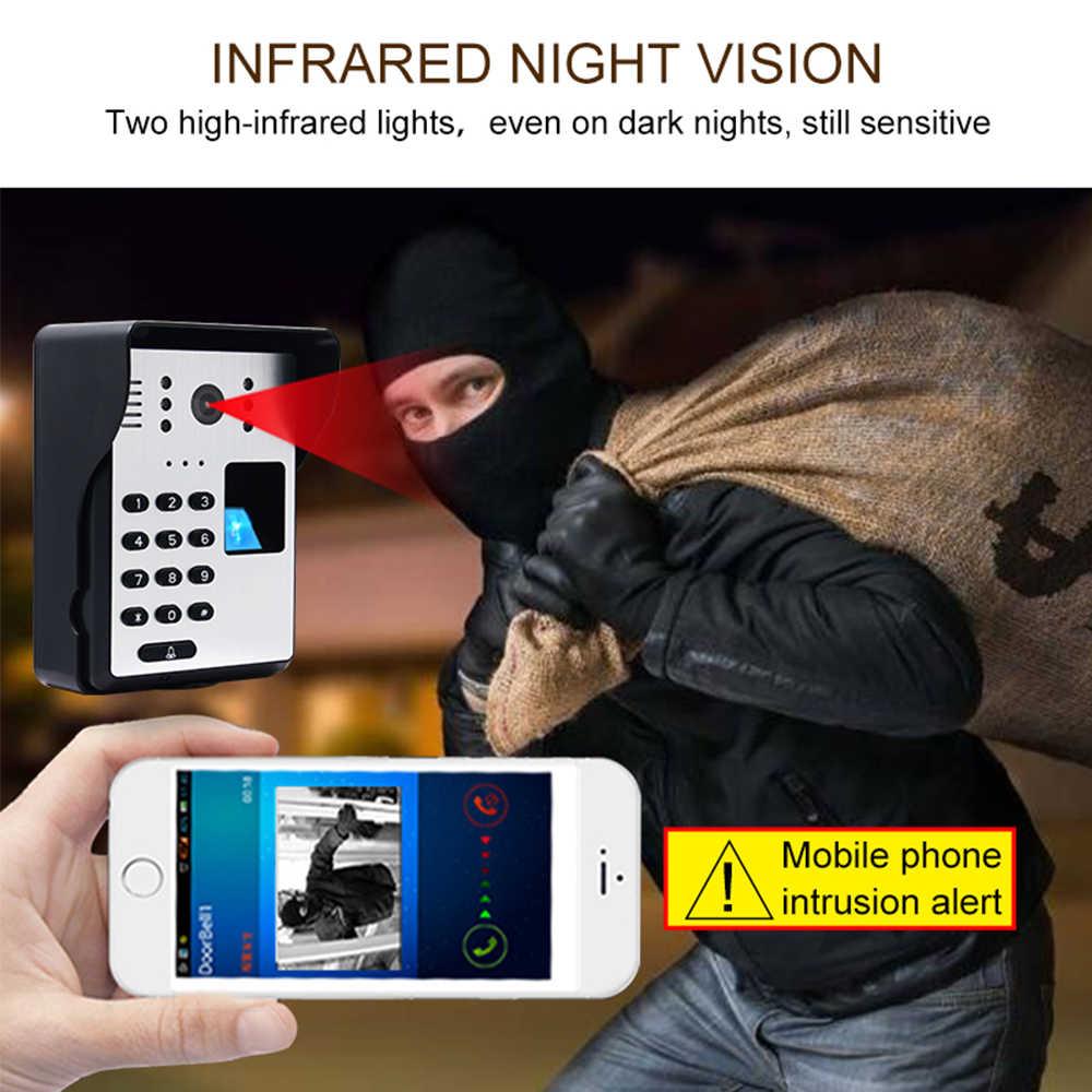 Bezprzewodowy wideodomofon inteligentne Wifi wideodomofon hasło RFID drzwi domofon telefoniczny linii papilarnych odblokuj IR bezprzewodowy dzwonek