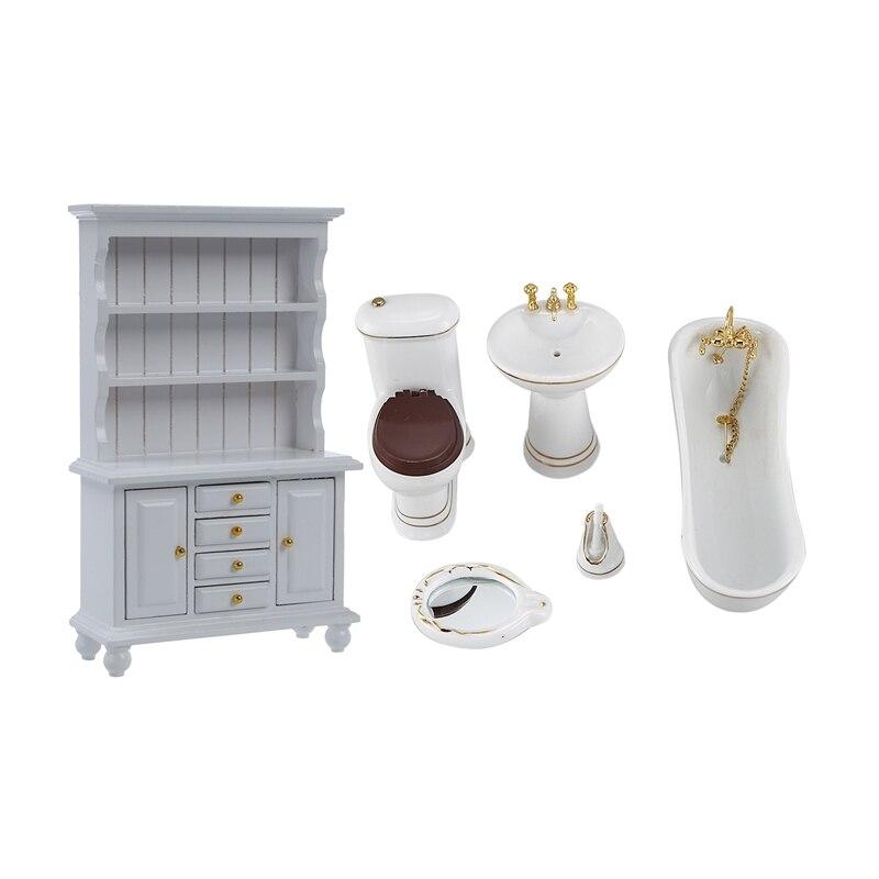 2 Pcs 1/12 Children Doll House Bathroom Furniture Set Bath & Multifunction Wood Cabinet Bookcase White