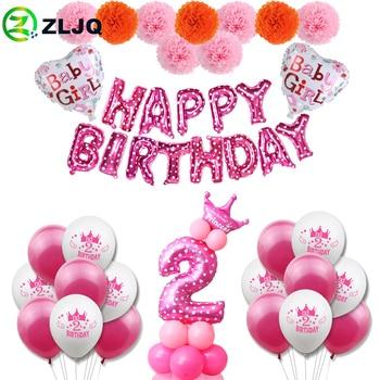 ZLJQ, 2. ° cumpleaños, niña, decoración de fiesta, globo de segundo número, niños de 2 años, suministros de fiesta de cumpleaños, decoración para niños