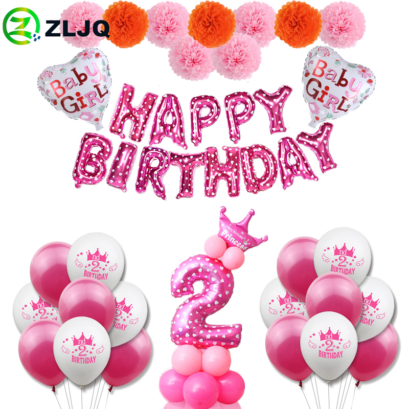 Zljq 2nd Birthday Girl Pink Party Decoration Second Number Balloon 2 Year Old Kids Two Year Birthday Party Supplies Boy Decor Ballons Accessories Aliexpress