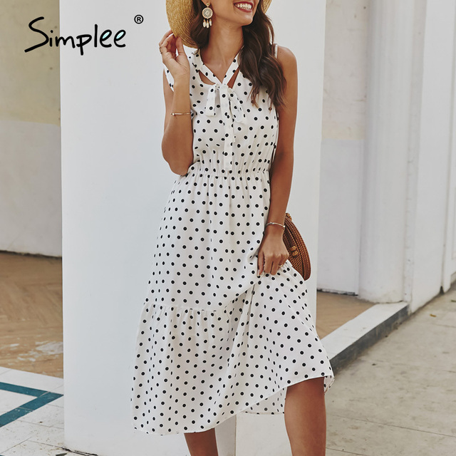 Simplee Elegant cravat sleeveless women dress Polka dot print office lady holiday summer dress A line casual ladies midi dresses