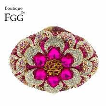 Boutique De FGG Fuchsia damska torebka z kryształkami kwiatowa torebka wieczorowa Minaudiere torebka wesele Bridal łańcuszkowa torba na ramię