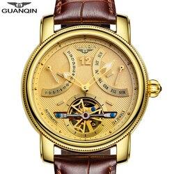 GUANQIN 2019 luksusowe mechaniczne automatyczne Tourbillon wyświetlacz zegar wodoodporny złota marka zegarka kobiet oglądać tydzień miesiąc zegarek
