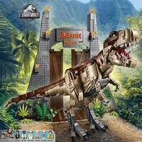 Jurassic Park World T.REX Rampage Dino Set Dinosaur Building Blocks Bricks Compatible lepinglys 75936 Toys Child Christmas Gift Blocks     -