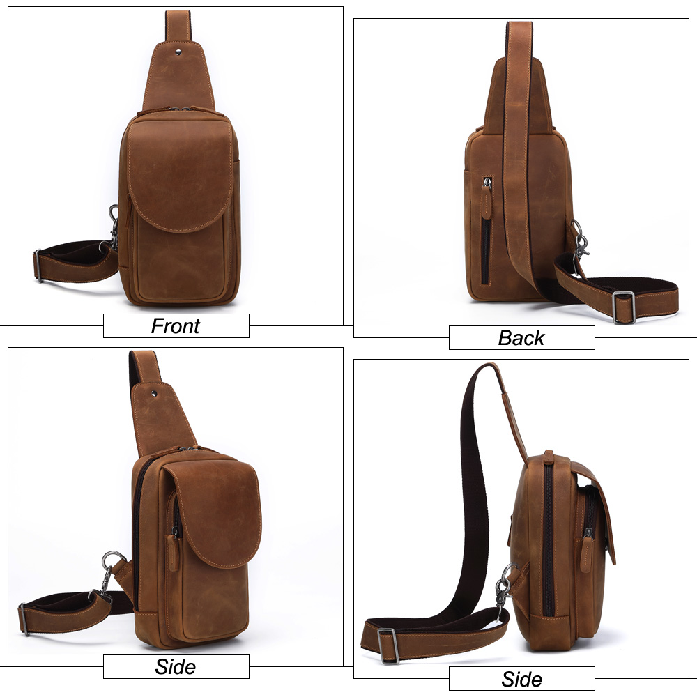 Image 2 - MISFITS crazy horse leather men chest bags fashion crossbody bag 