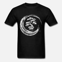 Camisetas normales de algodón de manga corta Bonsai árbol Enso círculo camiseta Vintage Zen caligrafía arte