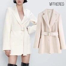 Увядший зима Англия офисные женские пояса Длинный блейзер feminino Женский блейзер mujer женские блейзеры и куртки