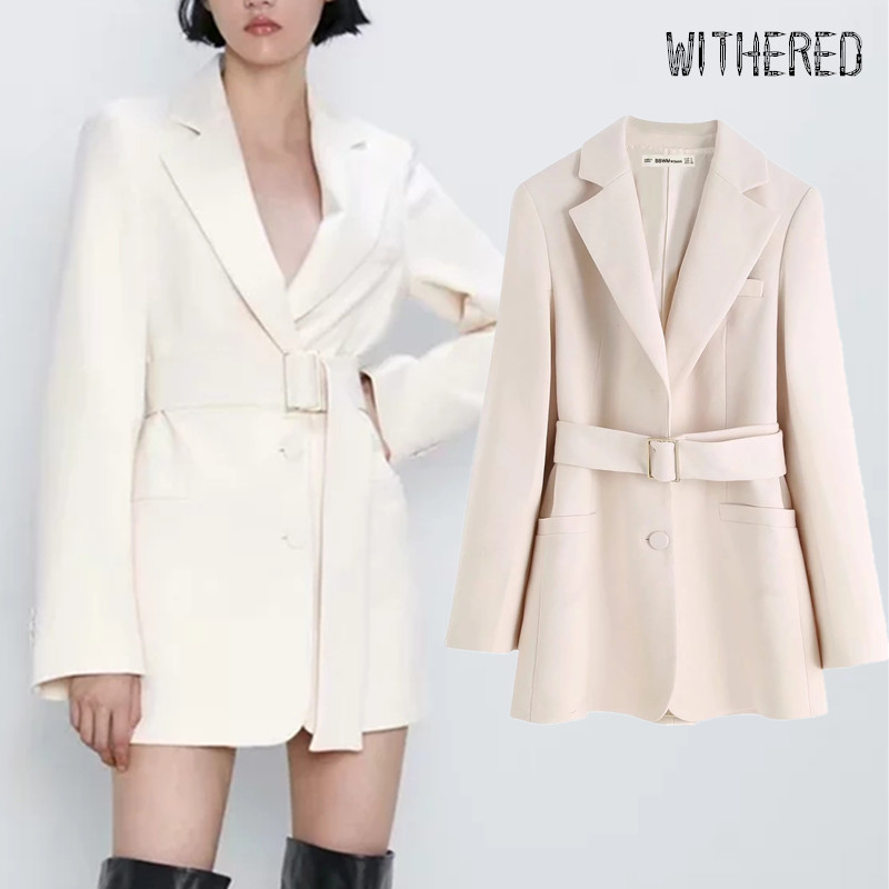 Withered 2019 Winter England Office Lady Sashes Long Blazer Feminino Blazer Women Blazer Mujer 2019 Women Blazers And Jackets
