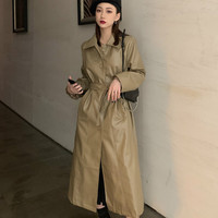 Khaki PU Leather Trench Coats For Women Korean Slim Waist Long Windbreaker with Sashes Elegant Coats 2019 Autumn New SA389S30