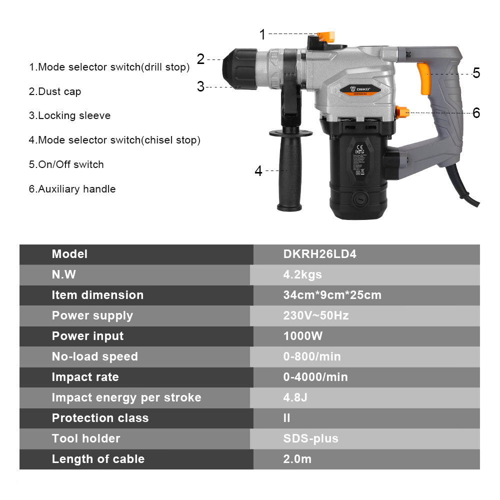 Rotary Demolition Hammer Po DKRH26LD4 Punch Drill DEKO 230V Impact With Multifunctional Accessories And 6pcs Hammer Electric BMC