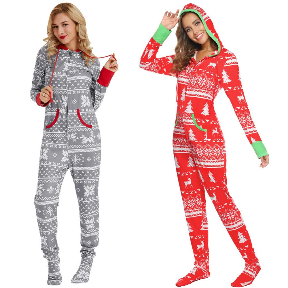 Zexxxy Christmas Pajamas Snowflake Pattern 2pcs Set Xmas Adult Men Women Warm Hooded Sleepwear New Year's Pajama Cute PJS Set