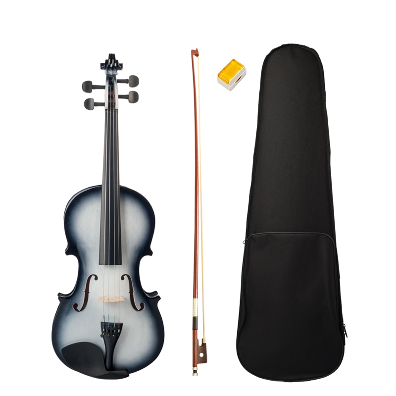 4/4 Violin High Gloss Finish 4/4 Violin Black and White Beginner Violin image