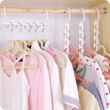 10PCS Set 3D Space Rotatable Foldable Saving Space Hanger Magic Clothes Hanger with Hook Closet