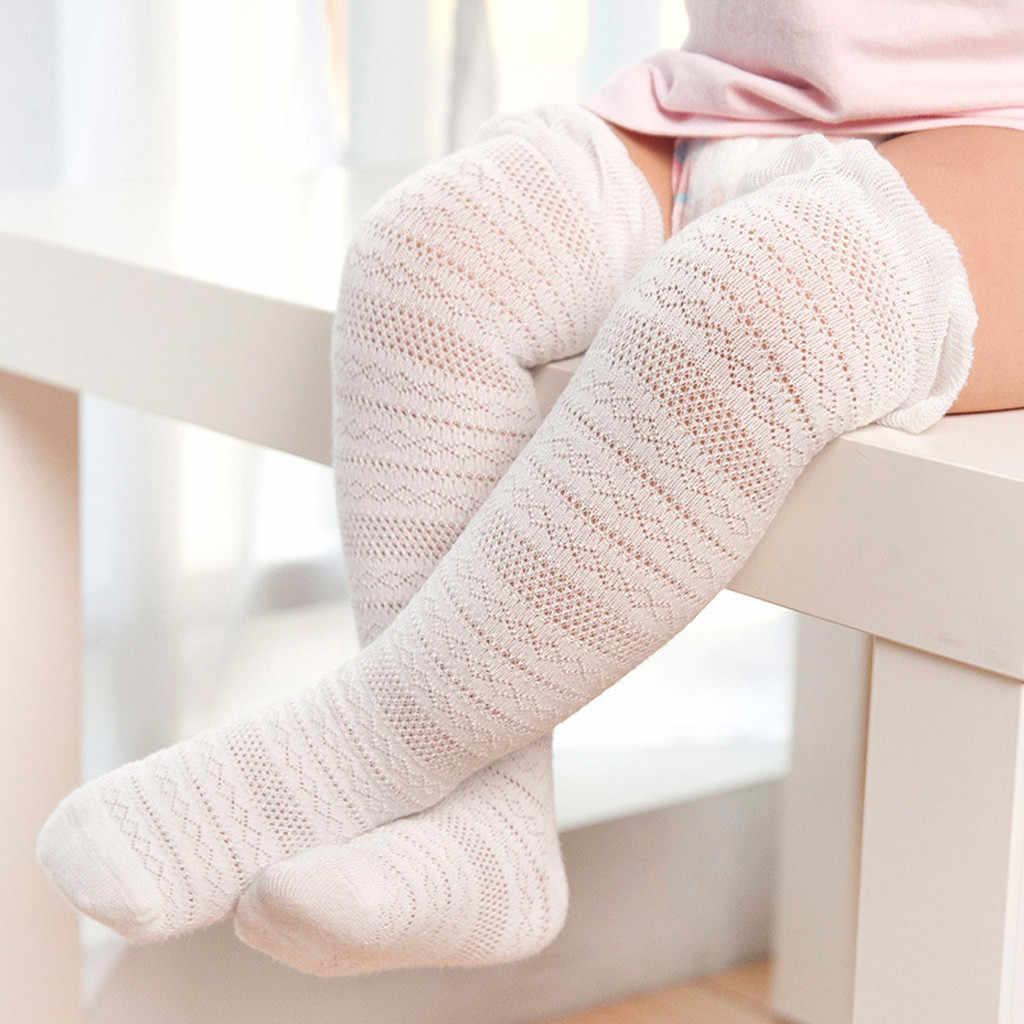 2019 г. Детские колготки чулки для новорожденных однотонные кружевные гольфы до колена, Нескользящие чулки для принцесс детские колготки для девочек