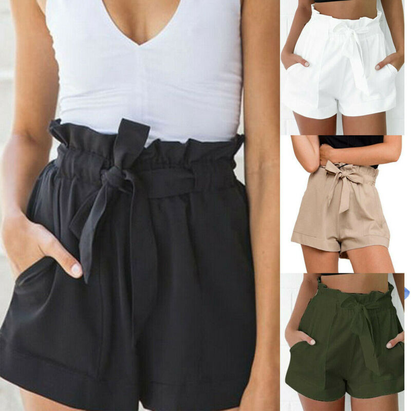 Women High Waist Tie Belt Paper Bag Shorts Ladies Summer Hot Short Black