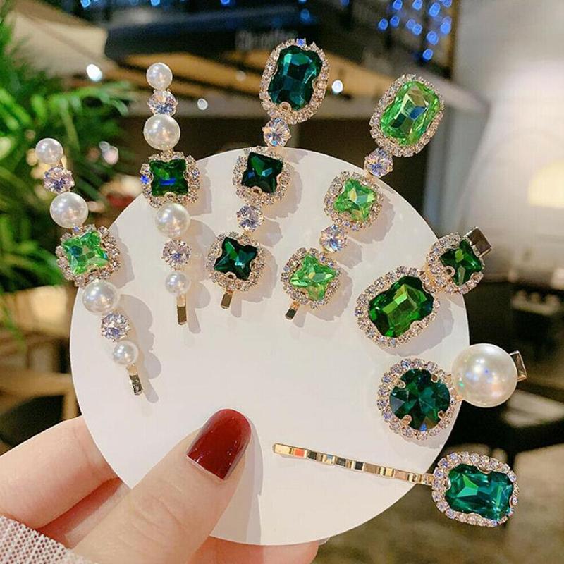 Korean Fashion Simple Green Stones Pearl Hair Clips For Women Bohemian Vintage Rhinestones Girls One Word Clip Hair Accessories