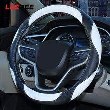 Leepee capa de volante do carro auto cobertura de volante antiderrapante adequado 38cm respirável decoração protetora universal