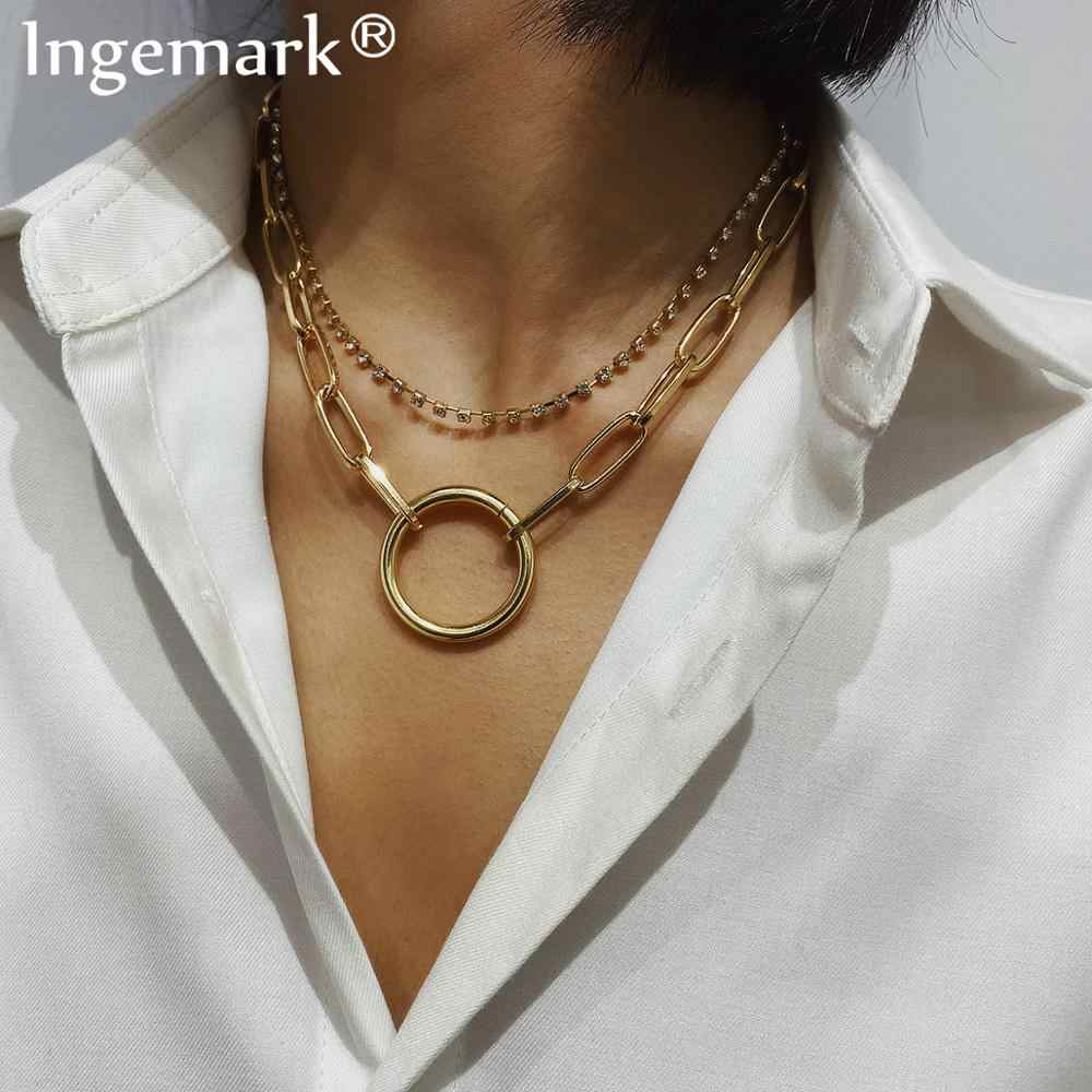 Gotycki kryształ wielowarstwowe koło Choker naszyjnik Choker komunikat Steampunk złoty srebrny zamek naszyjnik łańcuch dla kobiet biżuteria