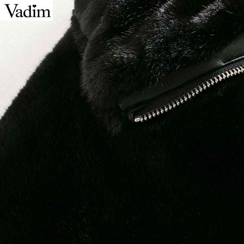 Vadim frauen elegante warme pelz mäntel zipper fly taschen kordelzug jacken weibliche outwear feste lose tops CA597