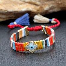 New Clover/Sunflower/Heart//Eye/ Bohemian Charm Bracelet Fashion Luxury Designed Classic Colorful Tassel Rope For Women Jewelry classic heart pattern bracelet for women