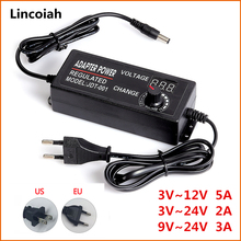 ปรับได้ AC 100 240V ถึง DC 3V 12V 3V 24V 9V 24V Universal Adapter Transformer แหล่งจ่ายไฟอะแดปเตอร์ 3 12 24V สำหรับไฟ LED Strip