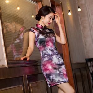 Image 2 - 2019 Direct Selling Improved Qipao Dress To Restore Ancient Ways Cultivate Temperament Bag Hip Collar Xiejin Silk Short Sleeve