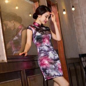 Image 2 - 2019 sprzedaż bezpośrednia ulepszona sukienka w stylu Qipao To powrót do przeszłości pielęgnować Temperament torba Hip kołnierz Xiejin jedwabiu krótkim rękawem