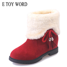 E TOY WORD New winter snow boots women shoes short tube plus velvet warm flat with student children cotton
