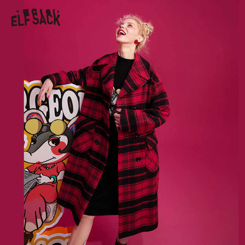 ELFSACK Chinese Red Plaid Straight Double Breasted Wool Coats Women 2019 Winter Rat Embroidery Long Sleeve Korean Ladies Outwear