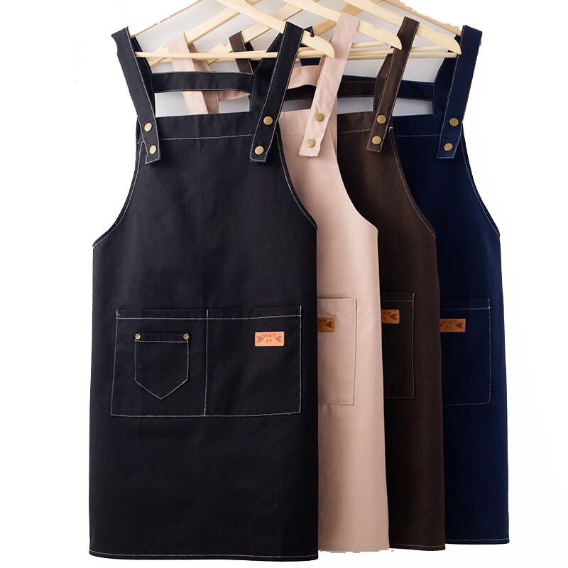 Apron Kit Custom Logo Wholesale Kitchen Restaurant Cooking Baking Bib Milktea Shop With Pockets Sleeve Waterproof Cleaning Cloth