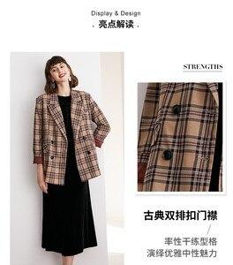 Image 3 - Terno xadrez casaco curto terno colarinho duplo breasted xadrez britânico curto casaco feminino wear