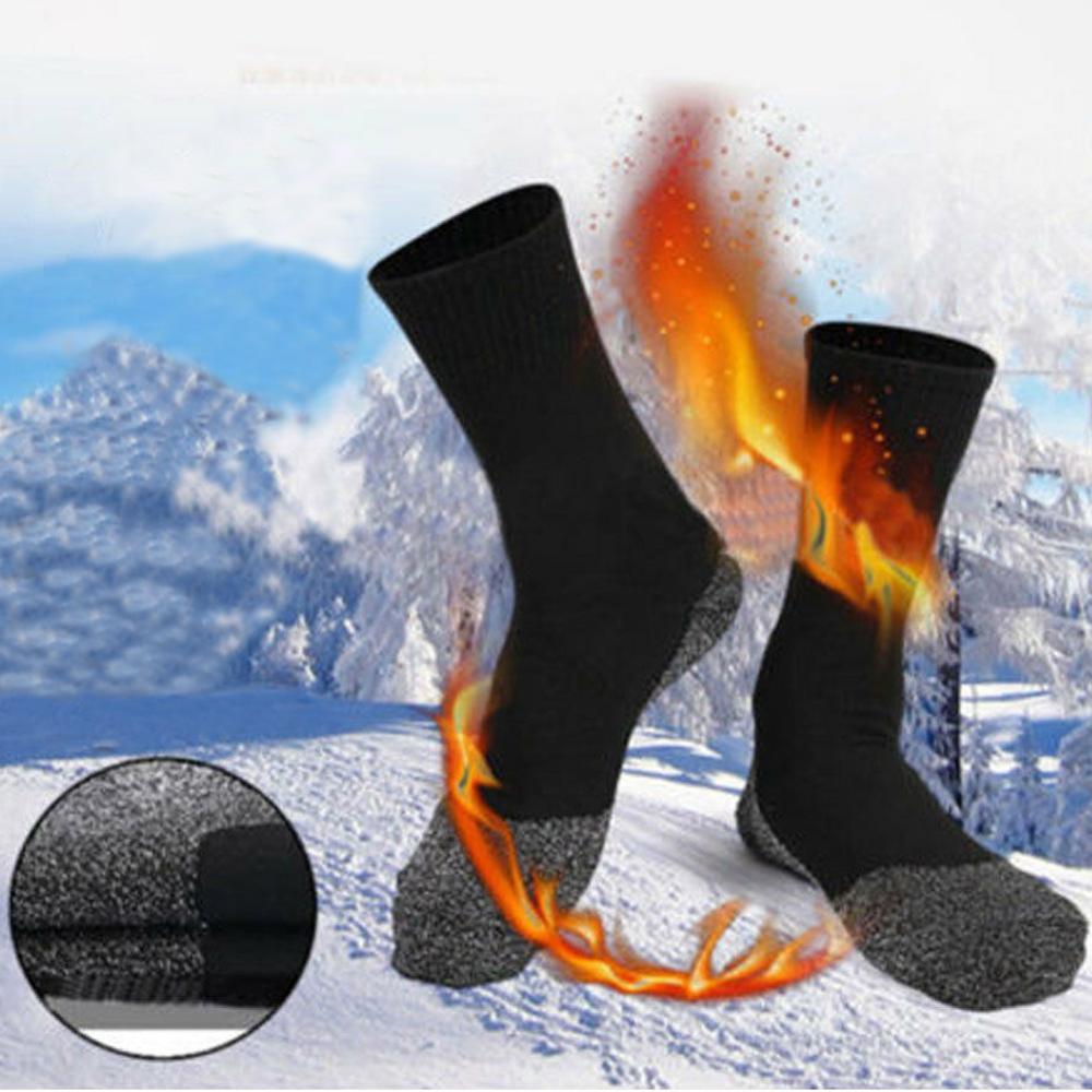 Men Winter Thermal Long Ski Snow Walking Hiking Climbing SportsTowel Socks Black