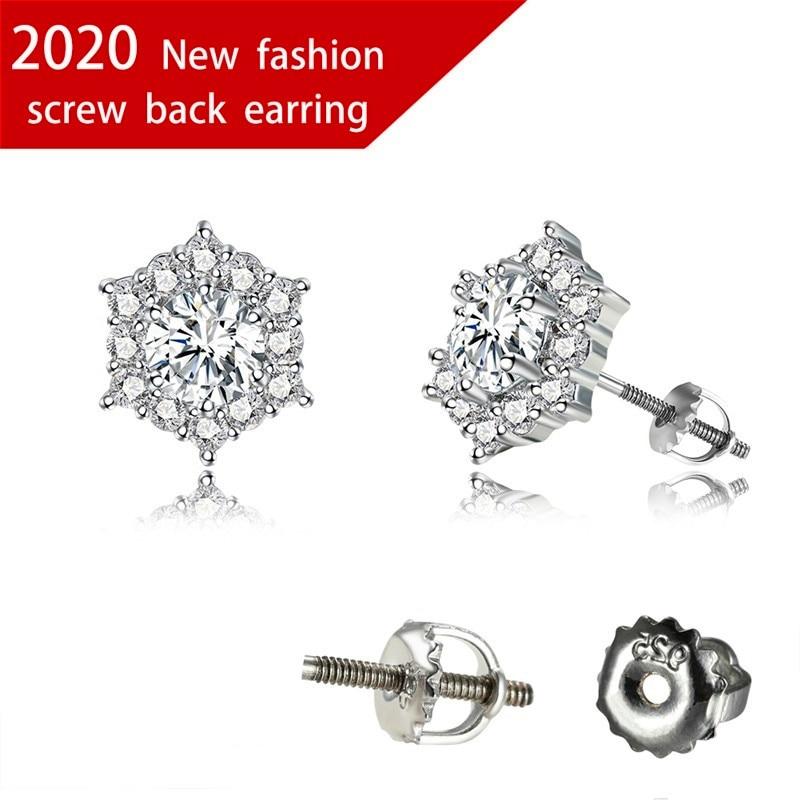 Simple Female Geometry Crystal Small Earrings Charm Silver Color Wedding Earrings Classic White Spiral Stud Earrings For Women