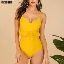 Riseado V-neck Female Bodysuit Sexy Ruffle Women Swimwear Solid Swimsuit New Strap Bathing Suit Women U-back Beach Wear 2019 crab print u back bodysuit